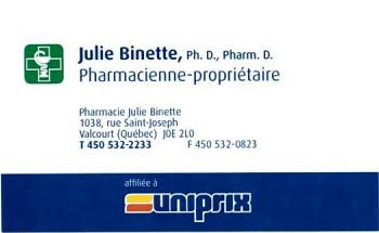 Uniprix julie Binette